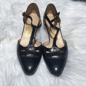 Salvatore Ferragomo Navy Blue Kitten Heel Shoes